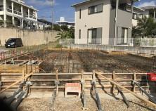 基礎枠組み・鉄筋組み・設備配管作業完了。 あとは、コンクリート打設を残して基礎工事は完了です。