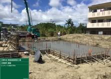 晴天の中、基礎コンクリート打設が完了しました! 左官仕上げが終わると、急激な乾燥によるひび割れ防止の為、水をまく散水養生を行い、ゆっくりと乾燥させていきます!