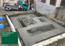 捨コン打設が完了しました! 高低差のある敷地をうまく解消するために、基礎の形状が段々になっています(^^)/
