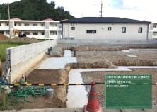 基礎床掘り完了後鉄筋前の状況です。